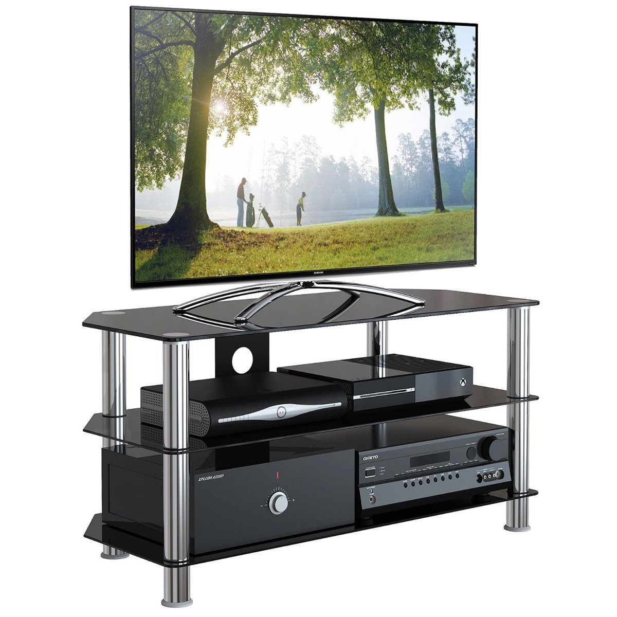 1home GT4 LCD-/Plasma-TV Rack Glas Tisch Ständer: Amazon.de: Elektronik