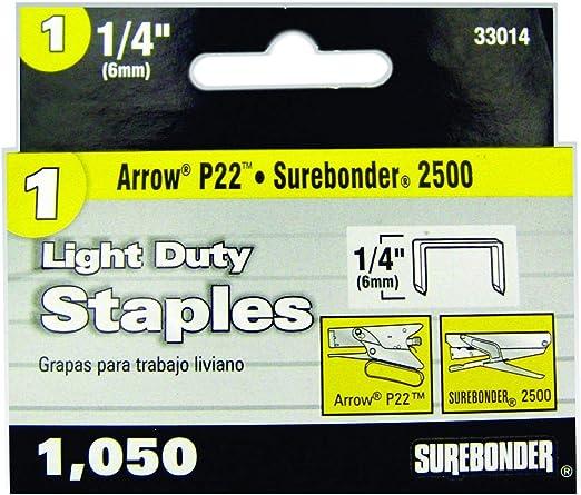 """Arrow Light Duty Staples 1//4/"""" 6mm 5 Pack Total Of 5000 Staples"""