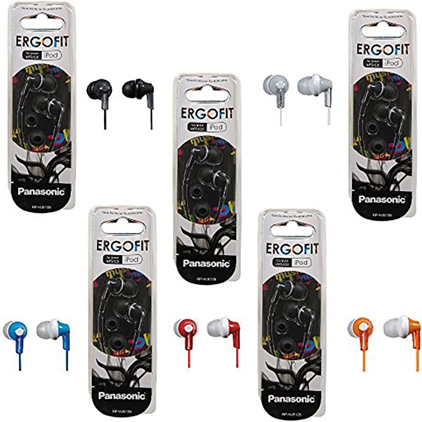 Panasonic ErgoFit In-Ear Earbud Headphones - 5 Pack (Assorted Colors)