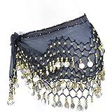 Lilyy Chiffon Dangling Gold Coins Belly Dance Hip Skirt Scarf Wrap Belt
