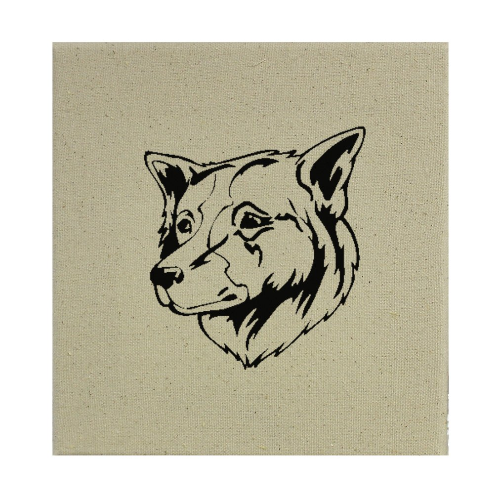Style in Print Stretched Natural Canvas Thai Bangkaew Dog Head Black By 8''X8'' by Style in Print