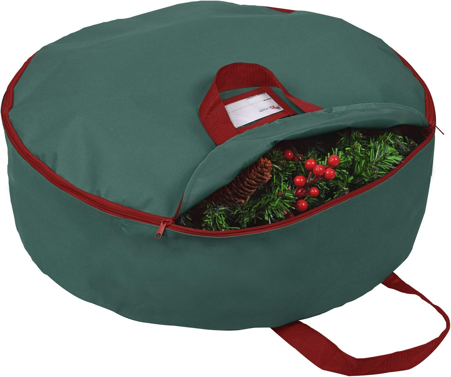 """Primode Christmas Wreath Storage Bag 30"""" with Handles, Container for Holiday Garland Wreaths, Constructed of Durable 600D Oxford Polyester Material (Green)"""