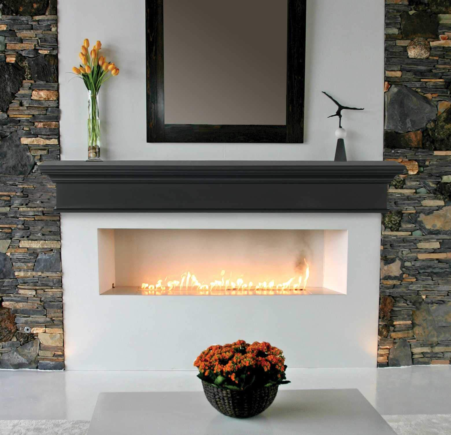 HomeRoots 48'' Classic Design Black MDF Mantel Shelf by HomeRoots