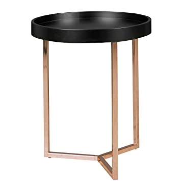 Wohnling Design Side Table Black Copper ø 40 Cm Tablett Wood Metal