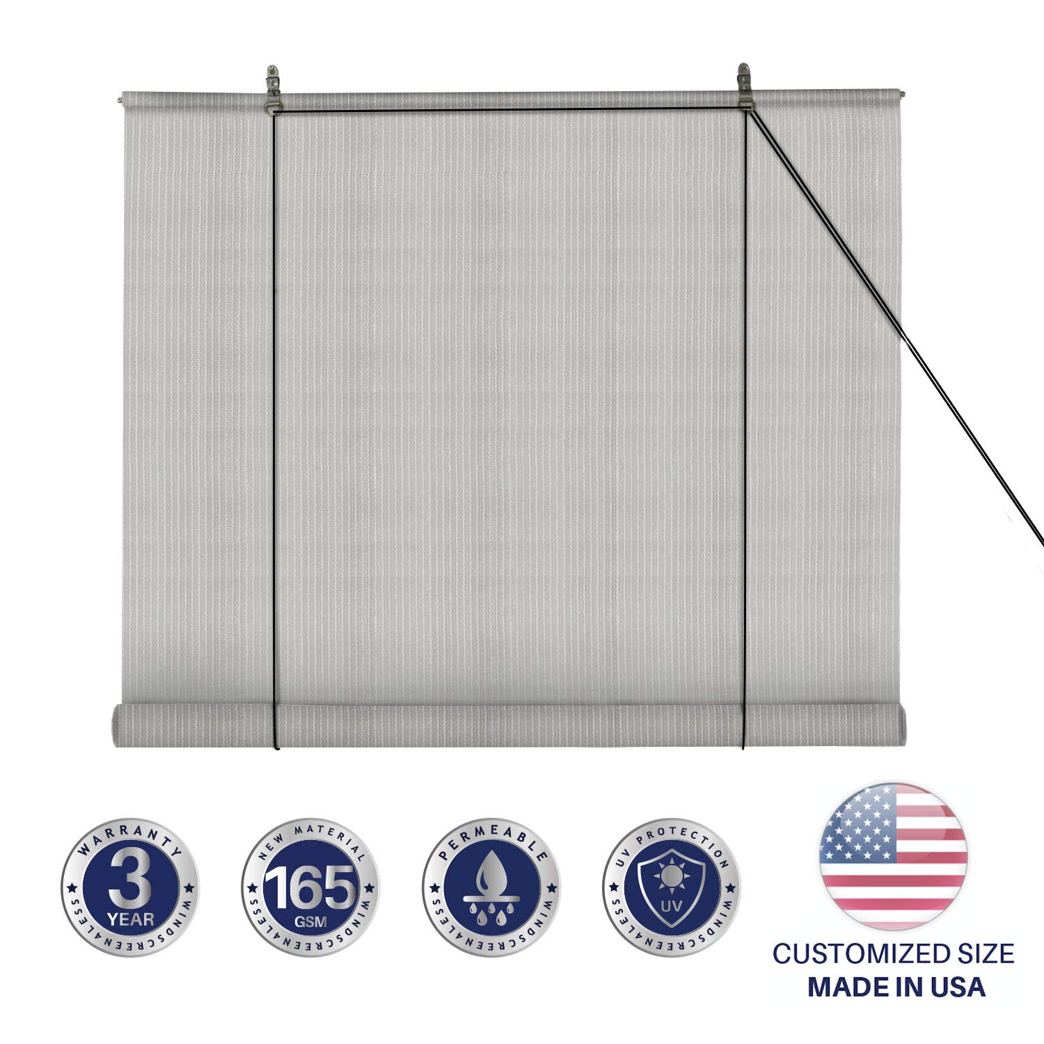 Windscreen4less Exterior Roller Shade Blinds Outdoor Roll Up Shade with 90% UV Protection Privacy for Deck Back Yard Gazebo Pergola Balcony Patio Porch Carport 5' W x 6' L Grey