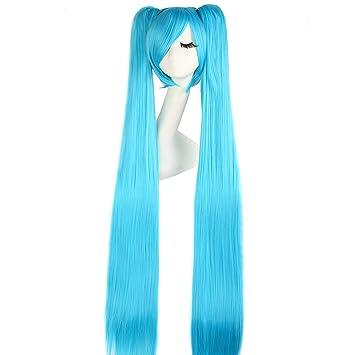 MapofBeauty 120cm/47 pulgada largo lacio en trenza seorita en trenza anime traje Pelucas (azul)