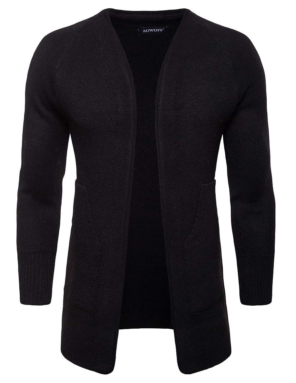 WSLCN Men Cardigan Long Knitwear Open Front Knitted Vest Mid-Long Jacket