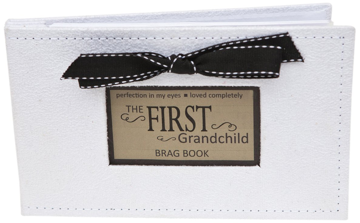 Grandparent Gifts 1st Grandchild Brag Book white faux-suede Holds 32 4x6 images Goldia 1138