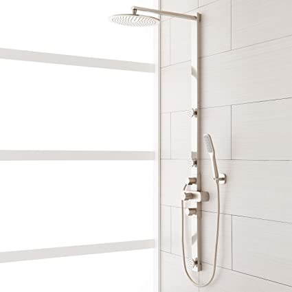 exposed pipe shower . Naiture Brass Exposed Pipe Shower System With Rainfall Head And Hand  In Brushed Nickel Finish Amazon Com