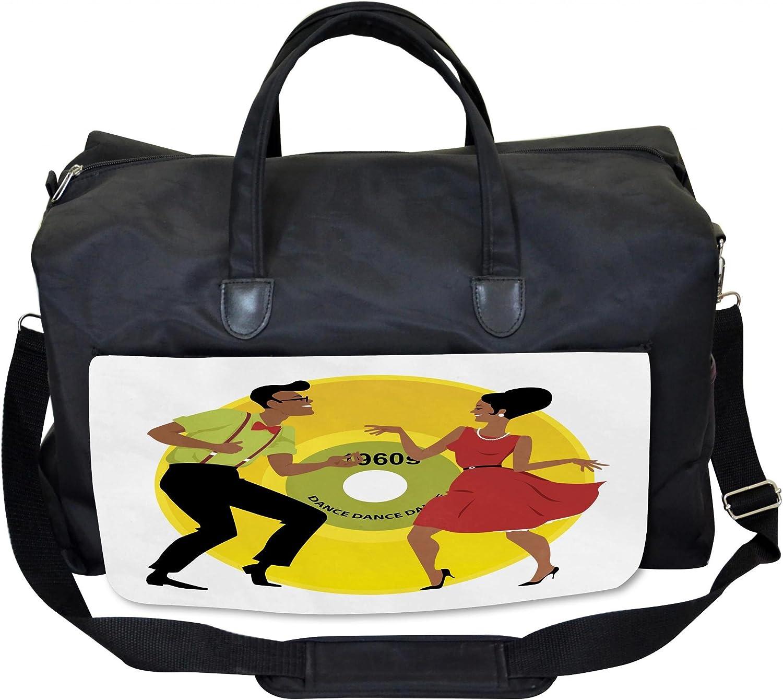 Lunarable Vintage Modern Gym Bag 60s Couple Dancing Large Weekender Carry-on
