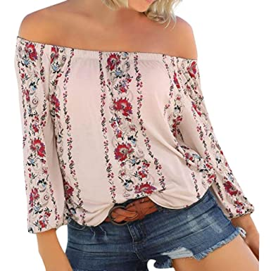 2f4fe934c98 Minisoya Womens Long Sleeve Floral Strapless Off Shoulder Tops Casual Beach  Holiday Tunic T-Shirt Boho Blouse Shirt at Amazon Women's Clothing store: