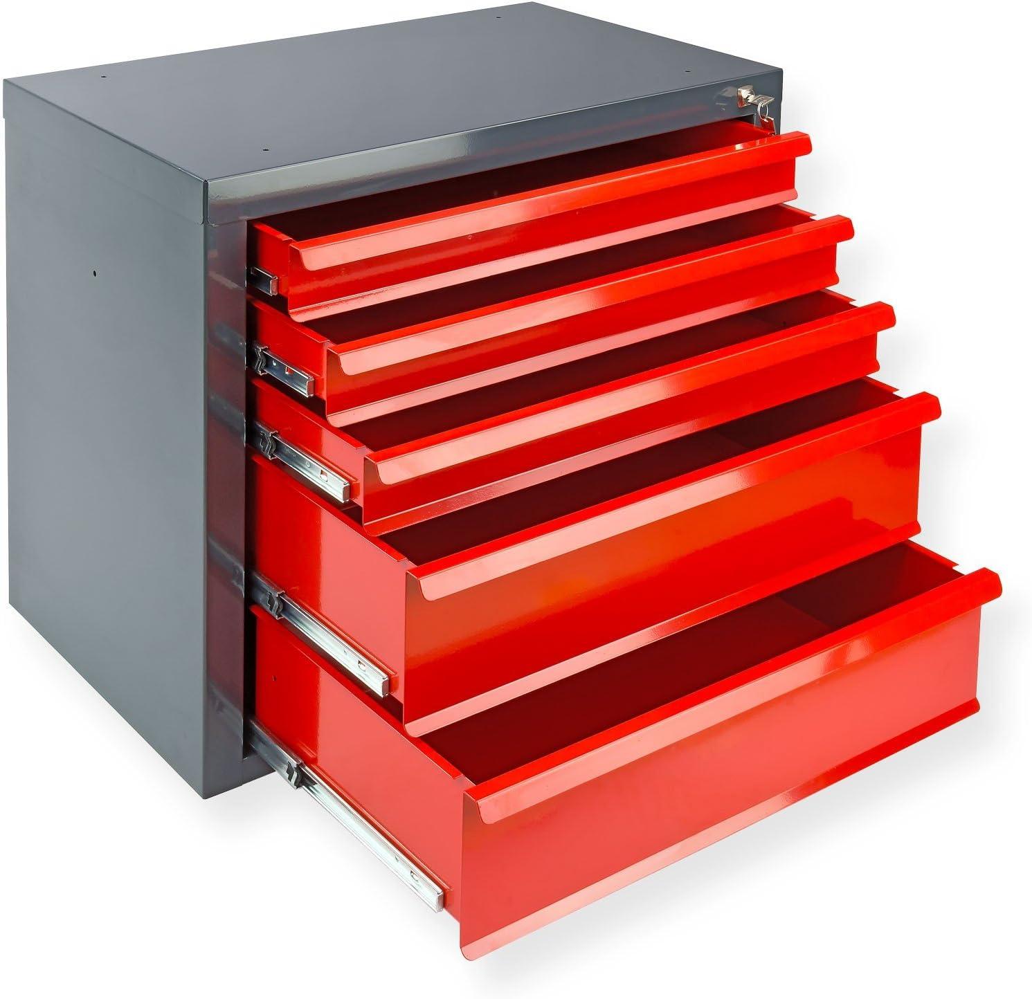 rot DeTec Metall Schubladenschrank #Fernando# mit 5 Schubladen//Unterschrank//Stahlmagazin Werkzeugschrank//Schubladencontainer f/ür B/üro Garage und Werkstatt 70x43.5x60 cm