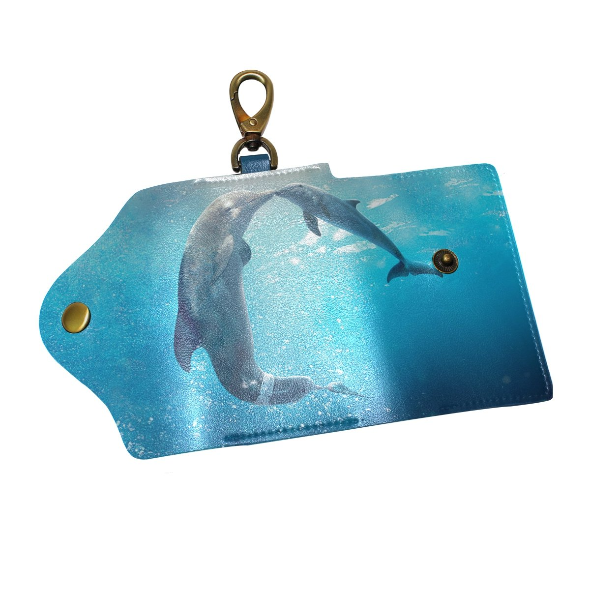 KEAKIA Love Dolphins Leather Key Case Wallets Tri-fold Key Holder Keychains with 6 Hooks 2 Slot Snap Closure for Men Women