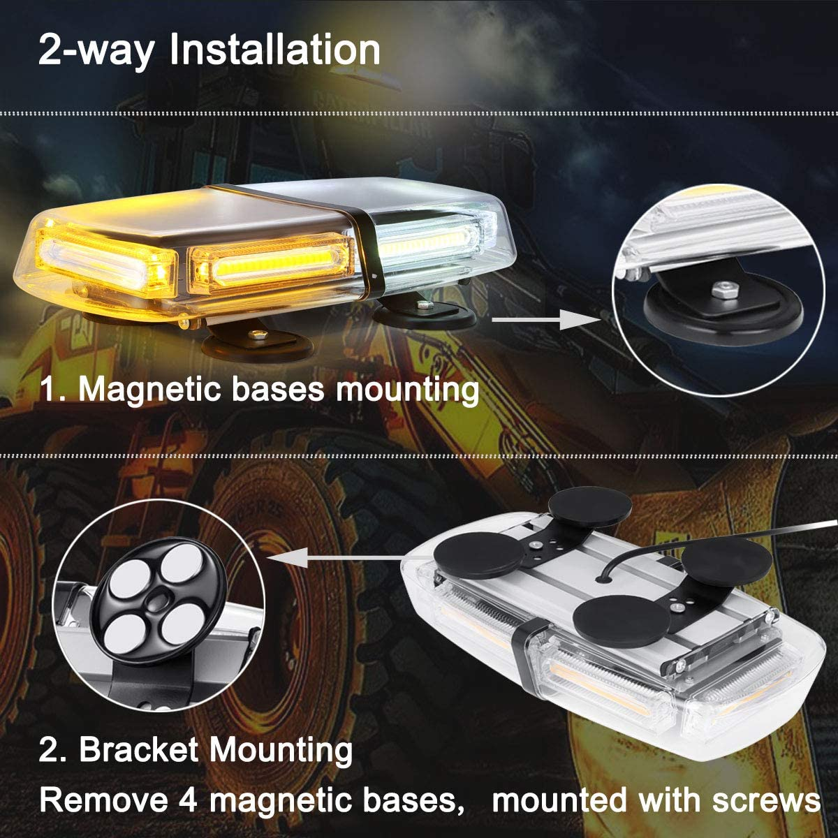 WOWTOU Emergency Flashing Hazard Warning Beacon 12V 24V Magnetic COB LED Amber White Strobe Light Bar for Trucks Snow Plow Tractors Construction Vehicles SUV Roof Top Caution Safety Lighting