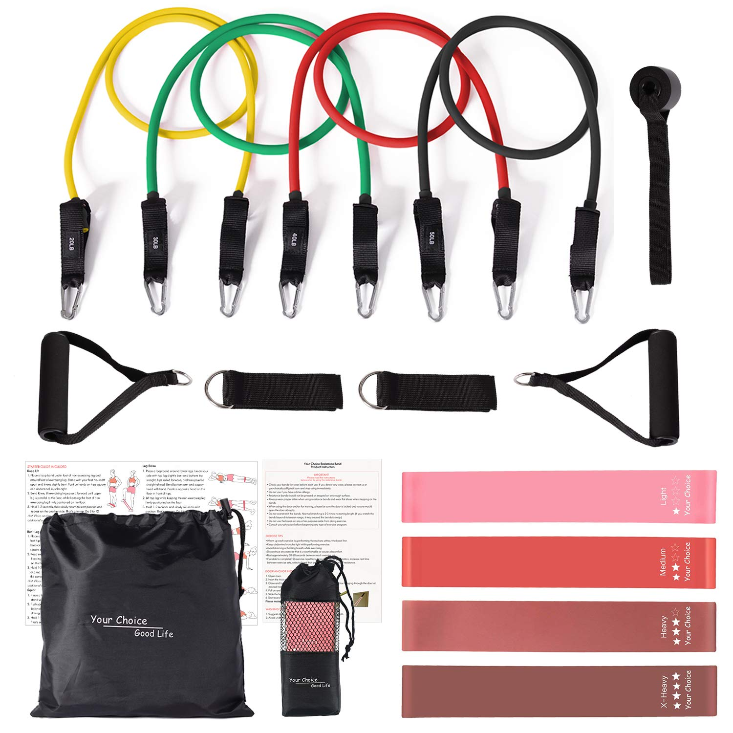 Your Choice 17 pcs Resistance Bands Set with Handle Exercise Bands Tube Workout Bands Booty Bands for Legs