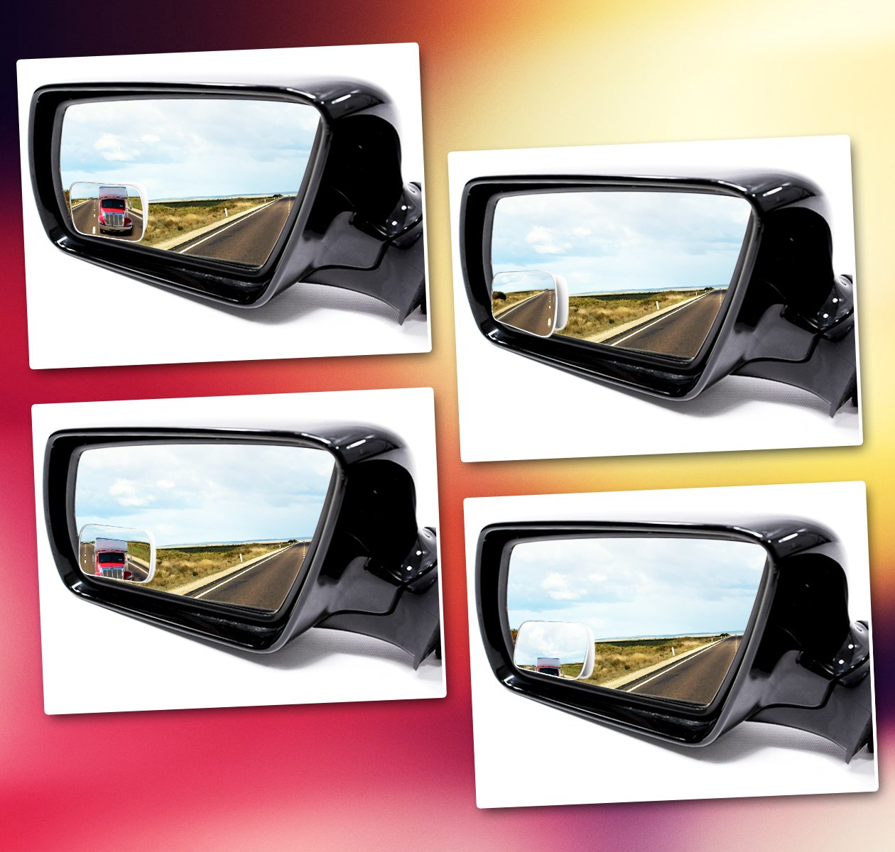 2-Pack Premium Quality Square Blind Spot Mirror Adjustable Stick-On Exterior Side Mirror for All Cars Motorcycles Trucks Snowmobiles Zone Tech Blind Spot Adjustable Square Mirrors