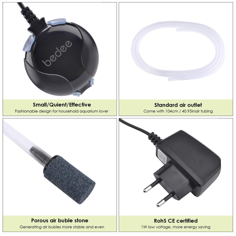Pompa D\'aria per Acquario,bedee Mini Pompa Ossigeno Acquario Ultra Silenziosa a Risparmio Energetico 1W con Tubo D\'aria e Tubo Flessibile di Silicone, 220V