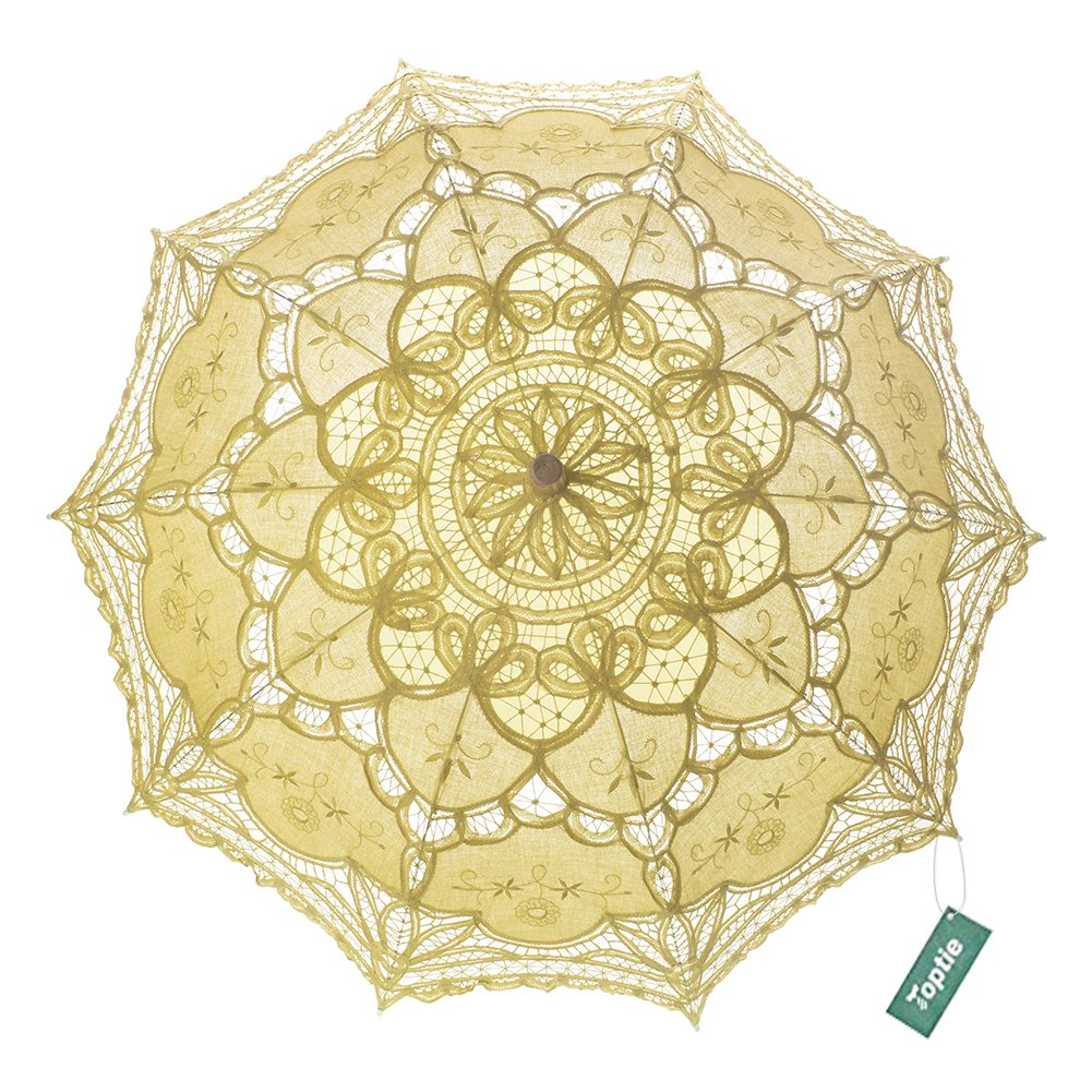 TopTie Wedding Lace Parasol Umbrella Victorian Lady Costume Accessory Photo Prop-Yellow-48 PCS by TopTie