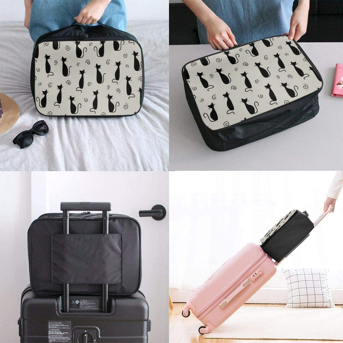 Travel Bags Black Cats Night Cityscape Portable Foldable Trolley Handle Luggage Bag