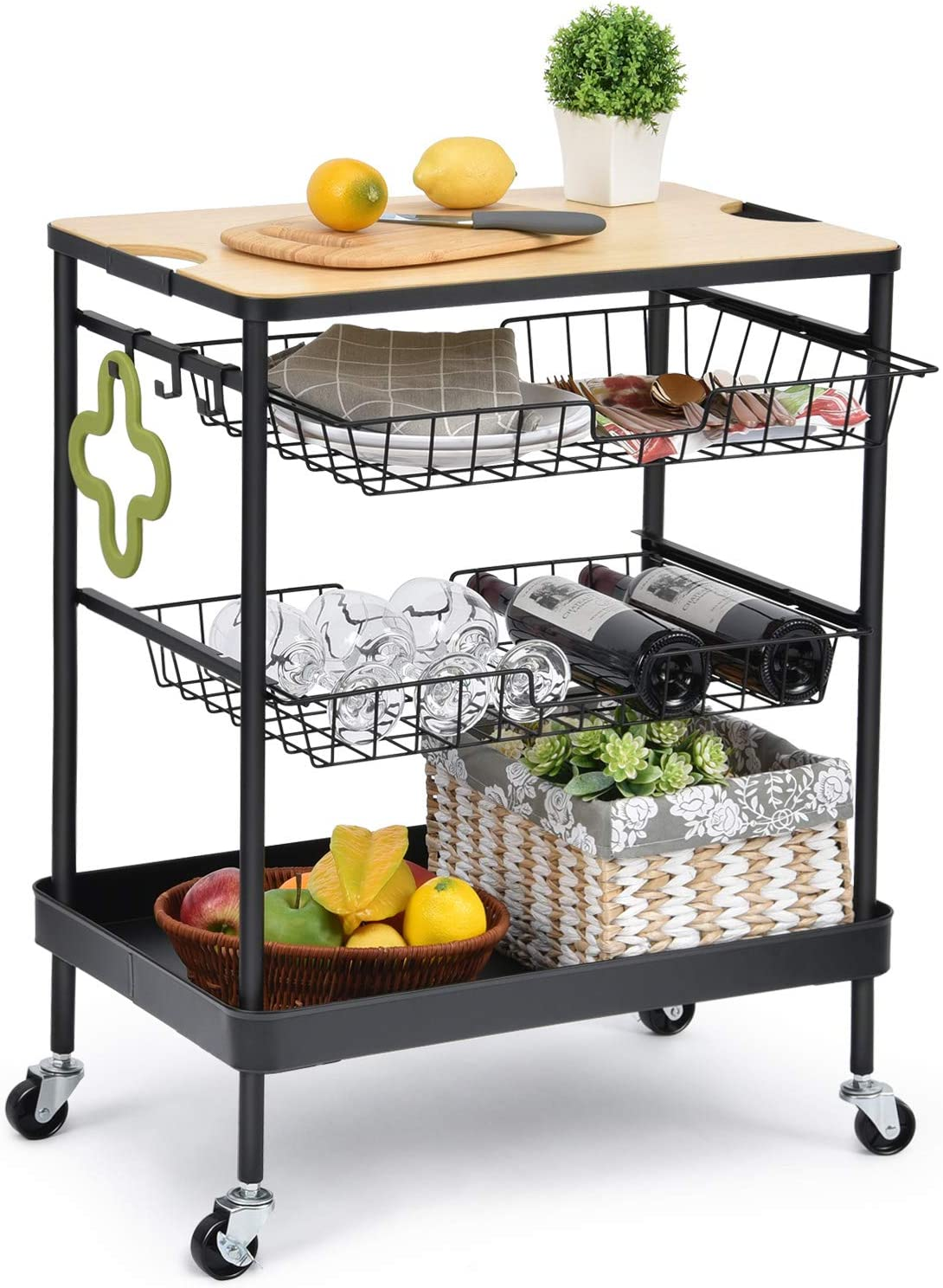 TOOLF Kitchen Island Serving Cart with Utility Wood Tabletop, 4-Tier Rolling Storage Cart with 2 Basket Drawers, Universal Lockable Casters for Home, Dining Room, Office, Restaurant, Hotel
