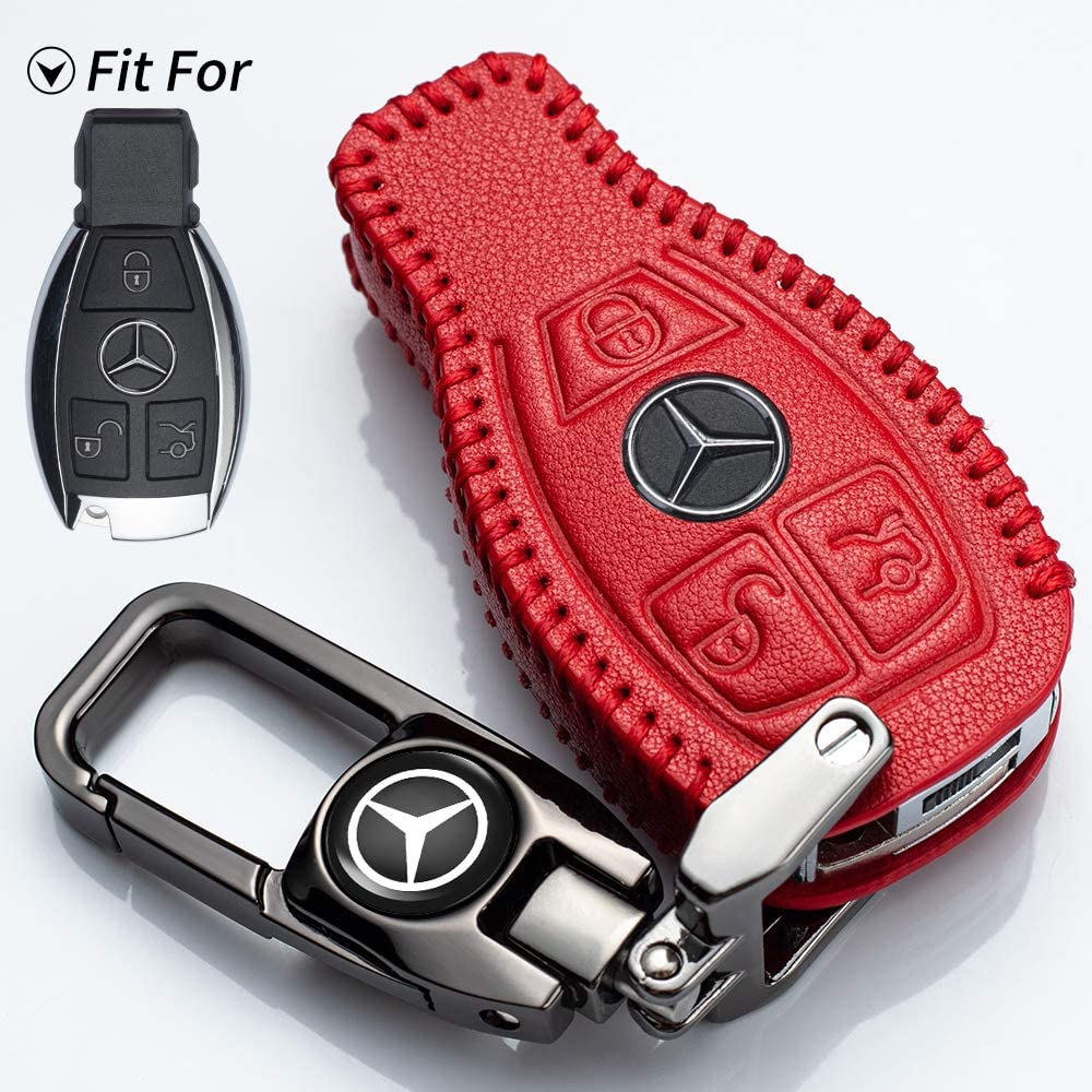 Car Key Case Genuine Leather Protector Keychain suit for Mercedes Benz C E S M CLS CLK G Class car Logo Key Fob cover Smart Car Remote key Holder