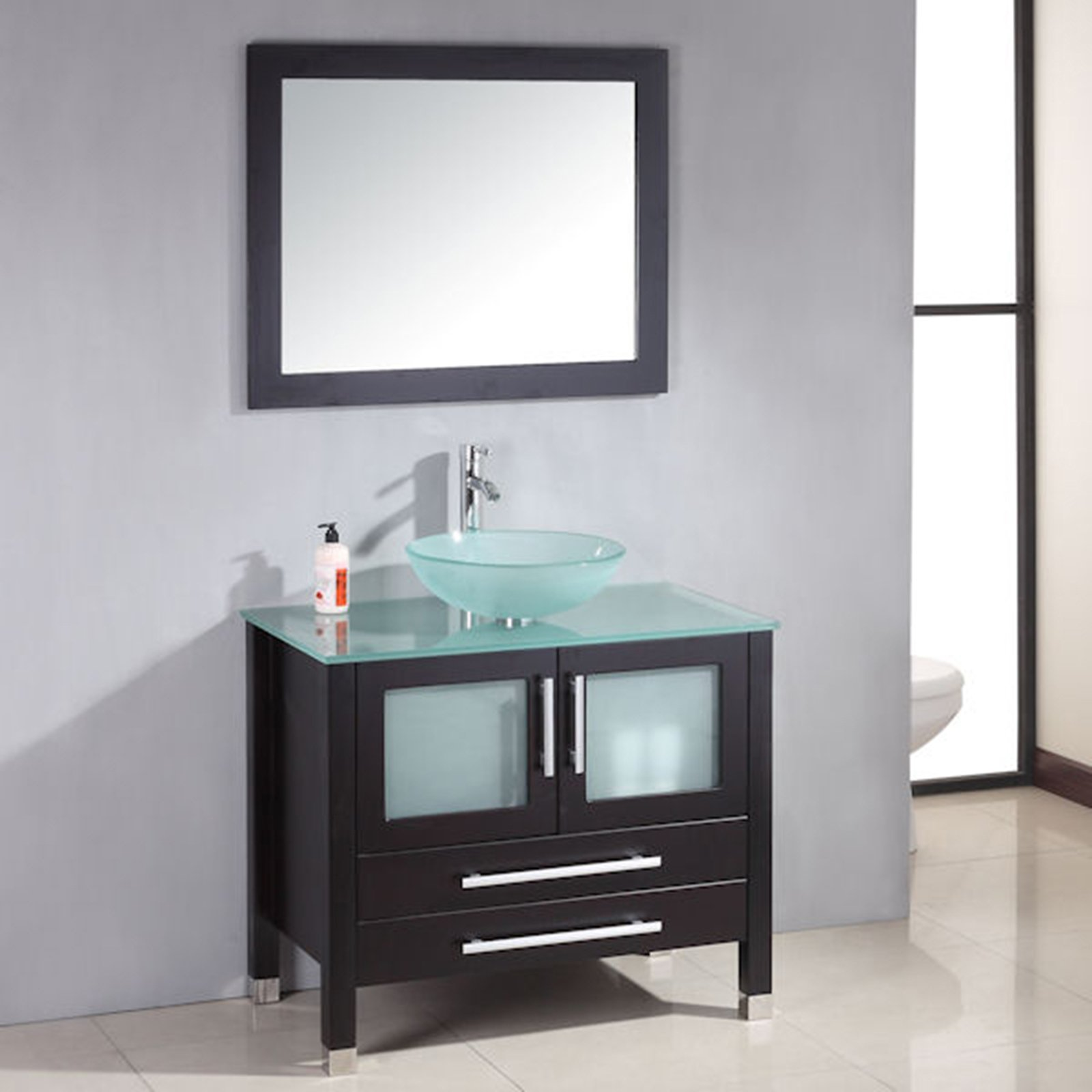 36 Inch Espresso Solid Wood Glass Vessel Sink Set- ''Mercer'' (Brushed Nickel Faucet) by The Tub Connection