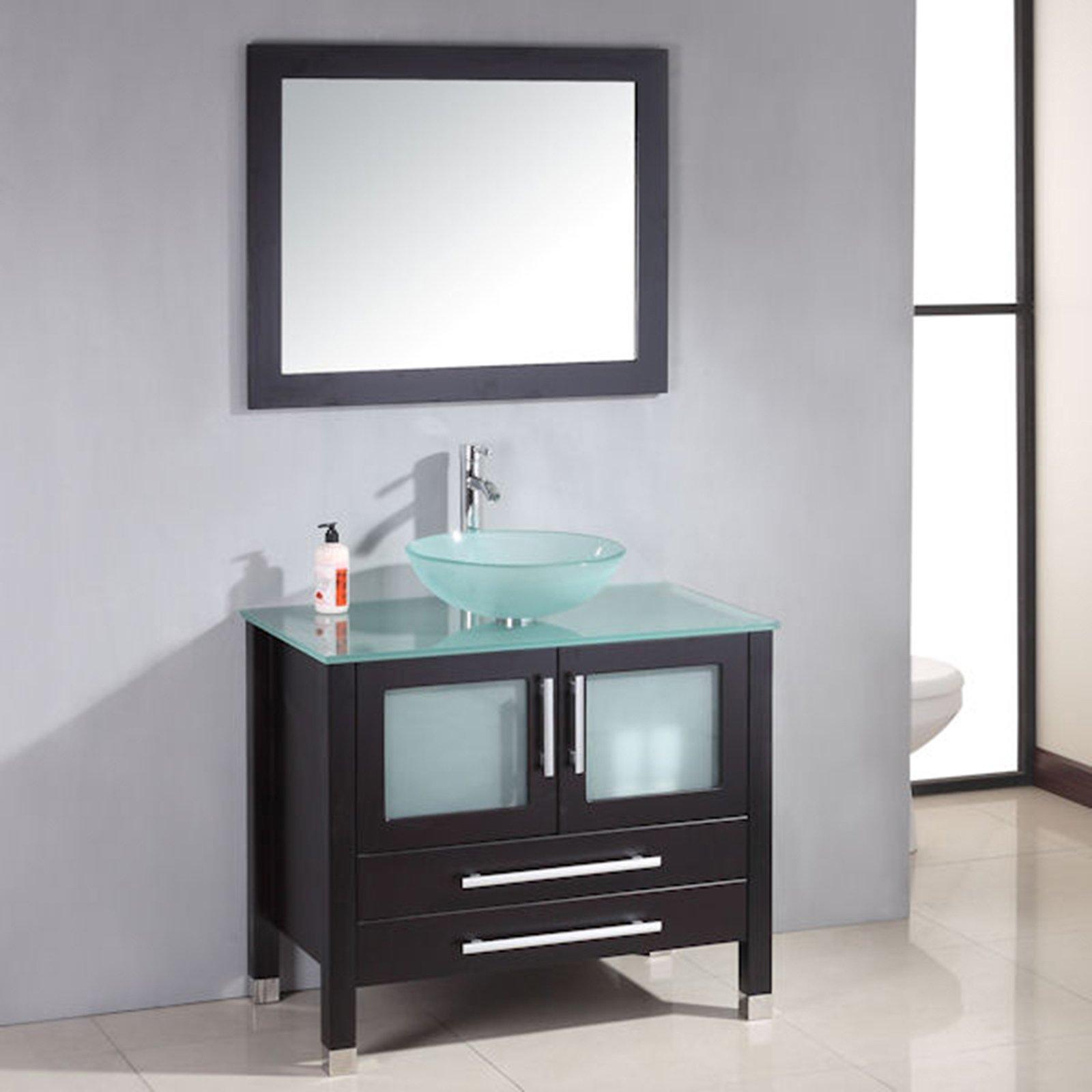 36 Inch Espresso Solid Wood Glass Vessel Sink Set- ''Mercer'' (Brushed Nickel Faucet)