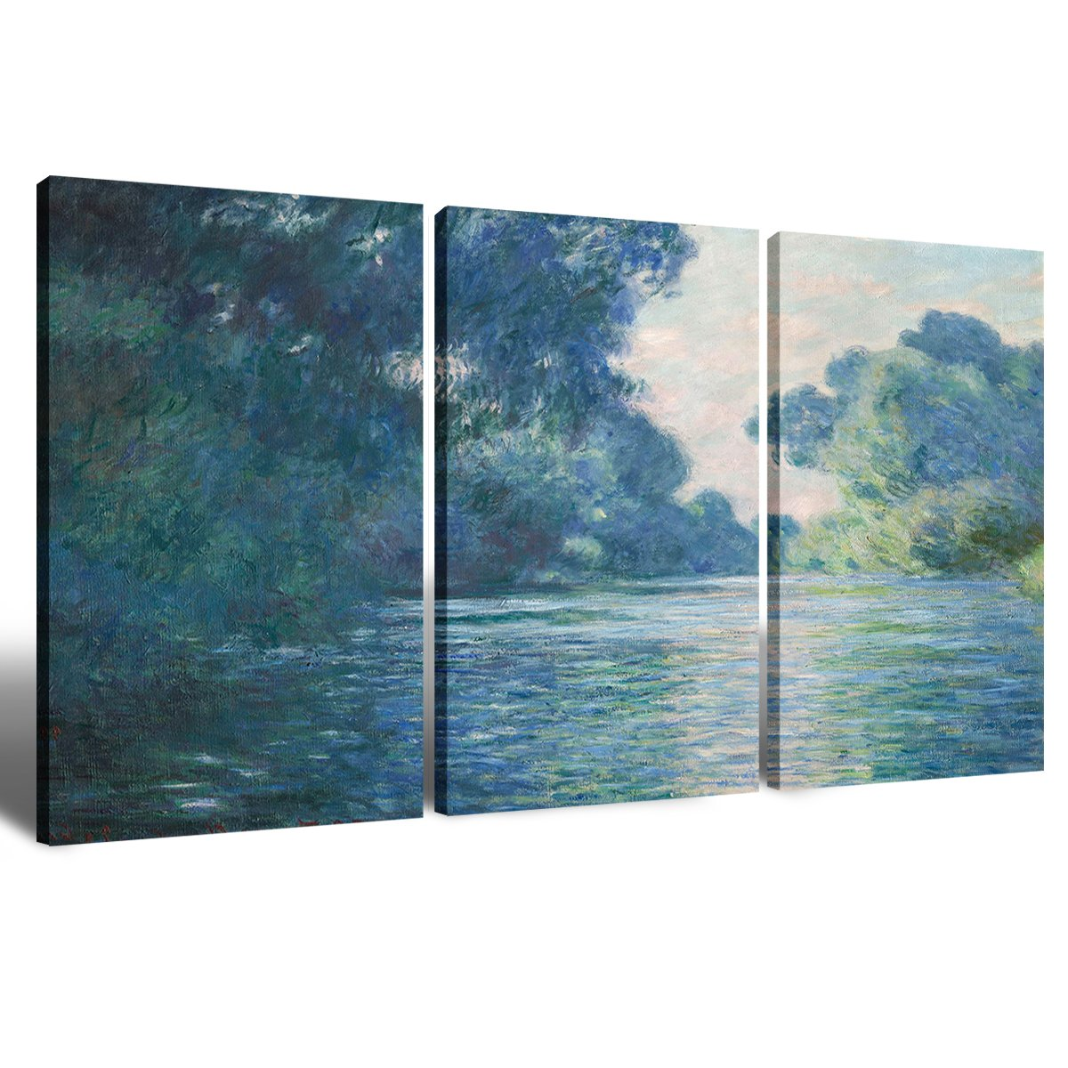 Canvas Wall Art Decorations Painting for Living Room Home Decor Elegant Vintage Claude Monet Hand-painted Artwork Water Lilies 1914 3 piece Picture Framed Wall Art House Decor Ready to Hang 16x24 Inch