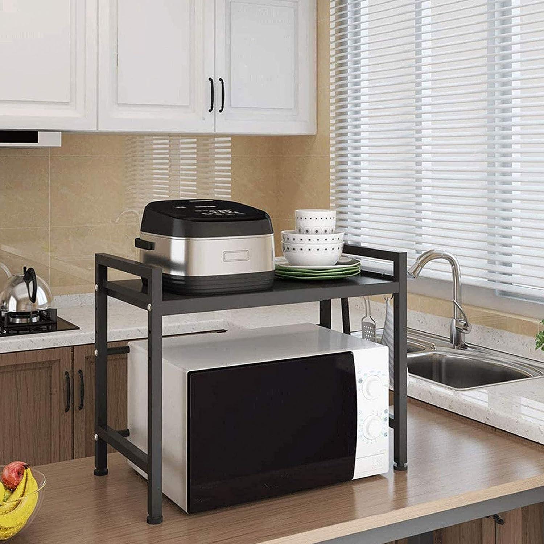 Salvaspazio AAAGX Rastrelliera per Forno A Microonde da Cucina in Metallo A 2 Livelli con 3 Ganci per Appendere Organizzatore di Stoccaggio per Ripiano da Cucina Regolabile