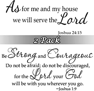 Zonon 2 Sheets Bible Vinyl Wall Decals Bible Vinyl Stickers Scripture Wall Decal Black Inspirational Quotes Vinyl Decals As for Me and My House, We Will Serve The Lord Wall Sticker Quotes