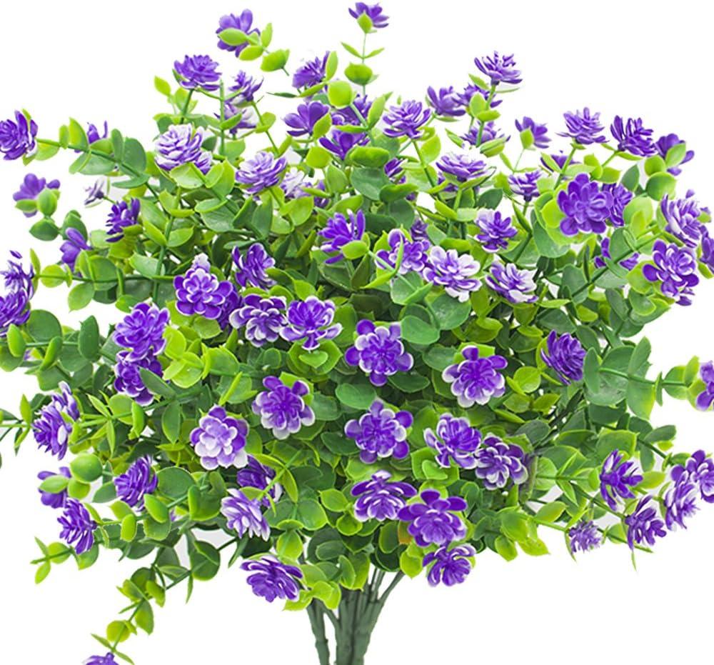 33cm Artificial Flowers Fake Outdoor UV Resistant Plants Faux Plastic Purple