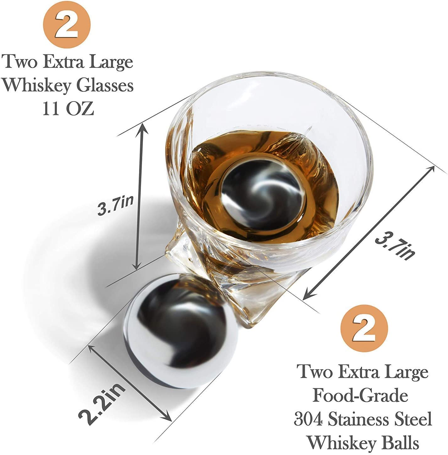 Premium Whiskey Stones Gift Set for Men – 2 King-Sized Chilling Stainless-Steel Whiskey Balls – 11 oz 2 Large Twisted Whiskey Glasses, Slate Stone Coasters, Tongs – Luxury Set in Real Pine Wood Box
