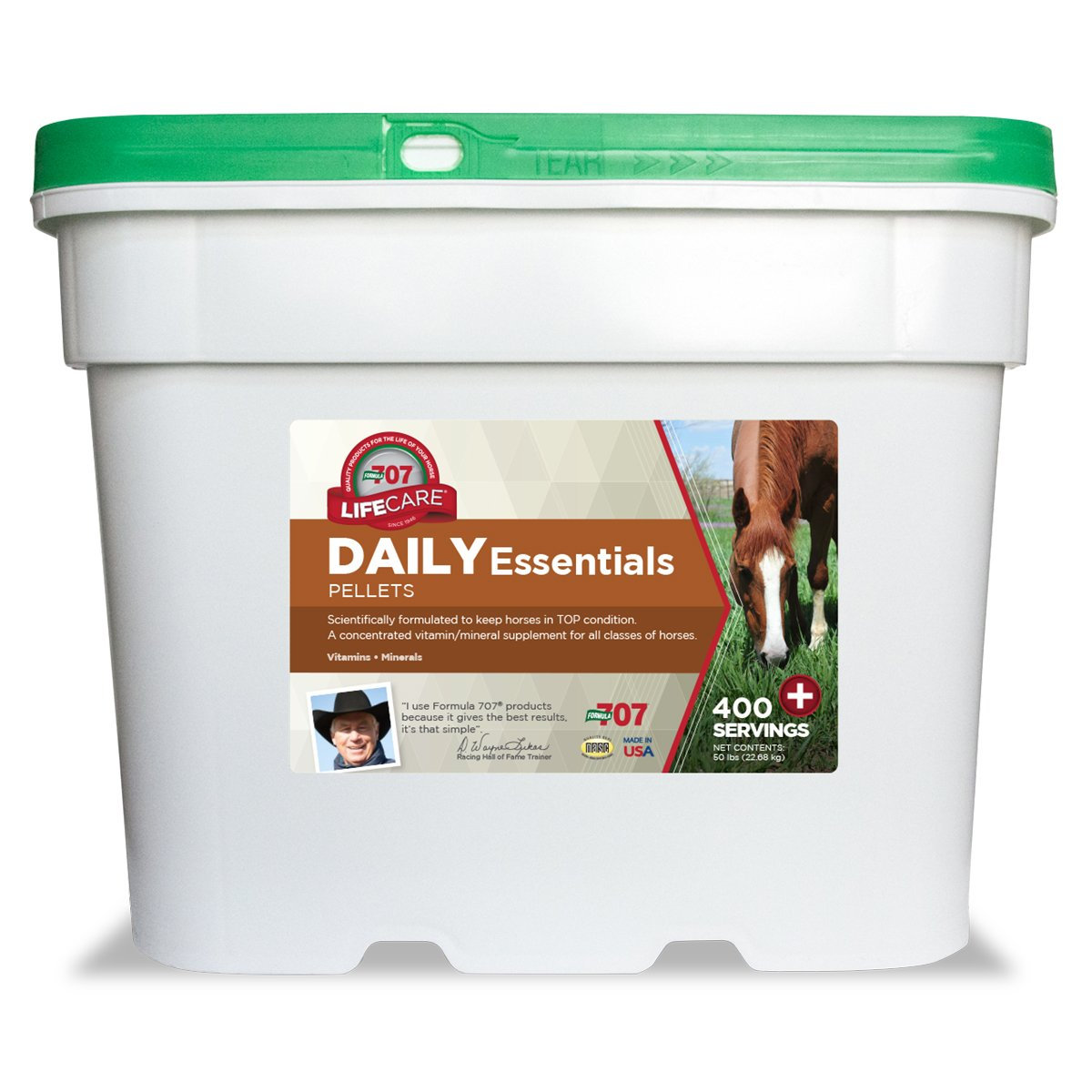 Formula 707 Daily Essentials Equine Supplement, 50lb Bucket – Complete Vitamins and Minerals for Superior Health and Condition in Horses