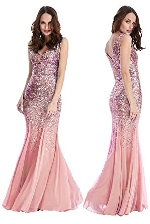 PDUK Pretty Pink Sequin Omari Maxi Mermaid Party Prom Gown Dress UK Sizes 8-14
