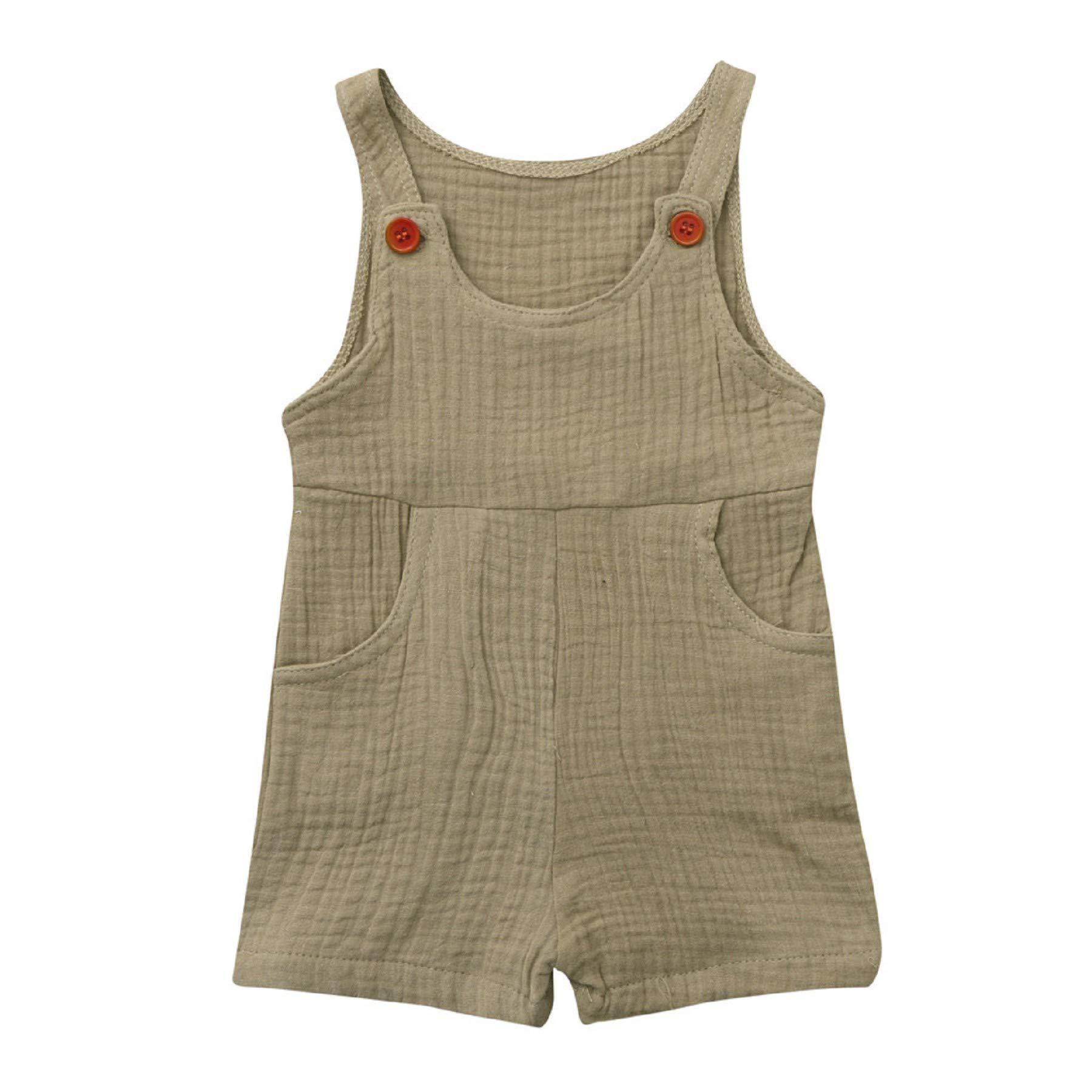 Summer Newborn Baby Boys Girls Cotton Blend Solid Overalls Romper Jumpsuit Clothes