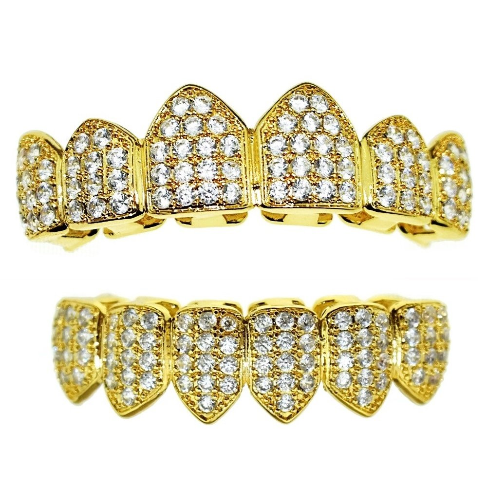 18K Gold Plated Grillz - CZ Iced Out Teeth Top & Bottom Set 2.7ct Micropave Lab Simulated Diamonds - BEST Gold Teeth Grills HarlemBling UK_B0776D8JHV