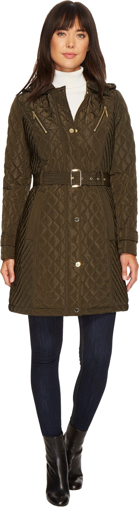 MICHAEL Michael Kors Womens Snap Quilt with Hood M423024CZ Dark Moss LG One Size