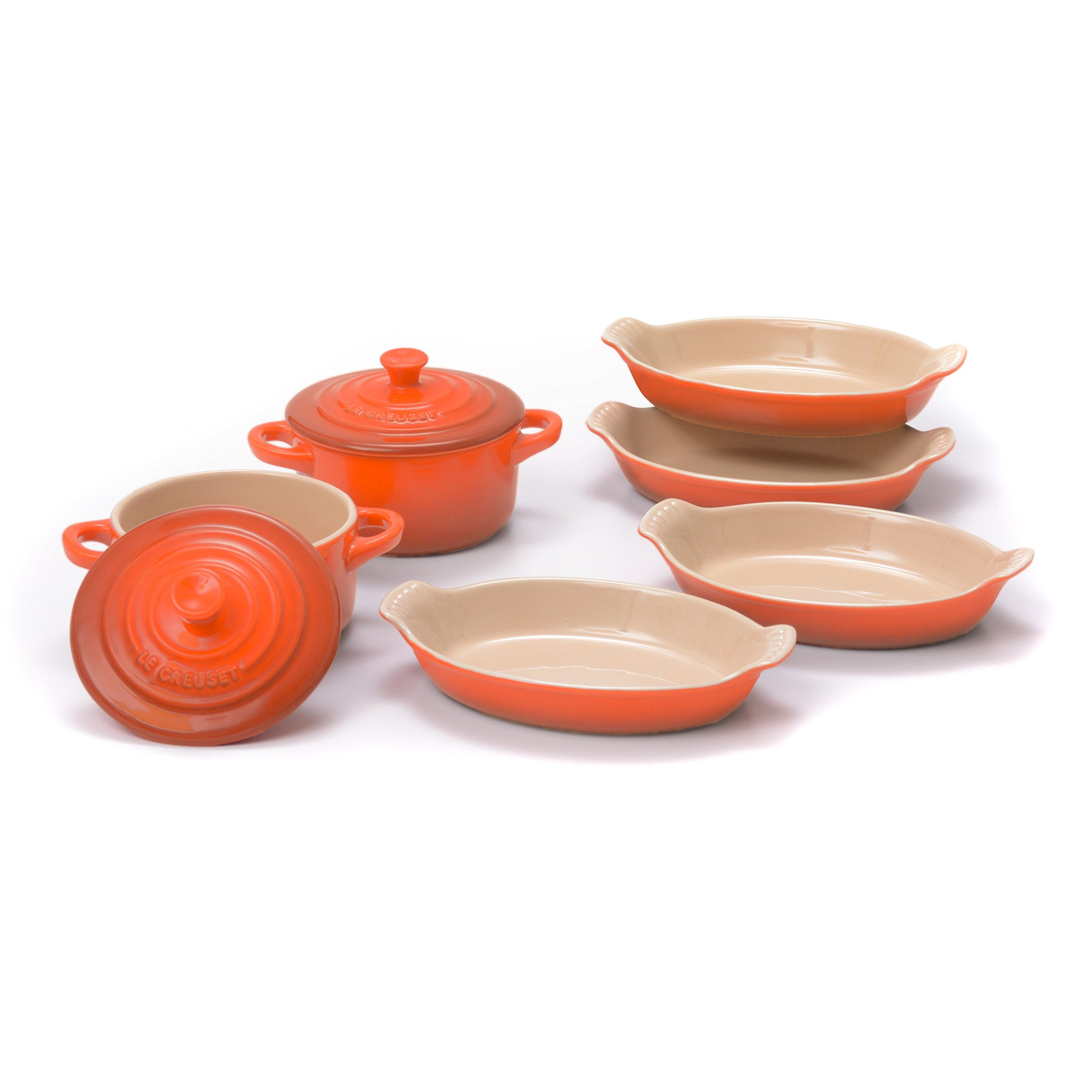 Le Creuset Heritage Flame Stoneware Set of 4 Petite 6 Ounce Au Gratin Dishes with 2 Mini Cocottes by Le Creuset (Image #1)