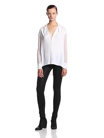 Helmut Lang Women's Morse Drape Long Sleeve Blouse, Optic White, Petite
