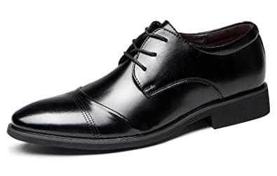 587d4db1c807 Santimon Oxford Shoes Men Cap Toe Soft Leather Lace Up Formal Wedding Dress  Shoes Black 5.5