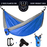 Two Tree Hammock Co. - Two Person, Double Hammock. Amazons Portable, Parachute Nylon Camping Hammock - Planting Two Trees with every Hammock Sold!