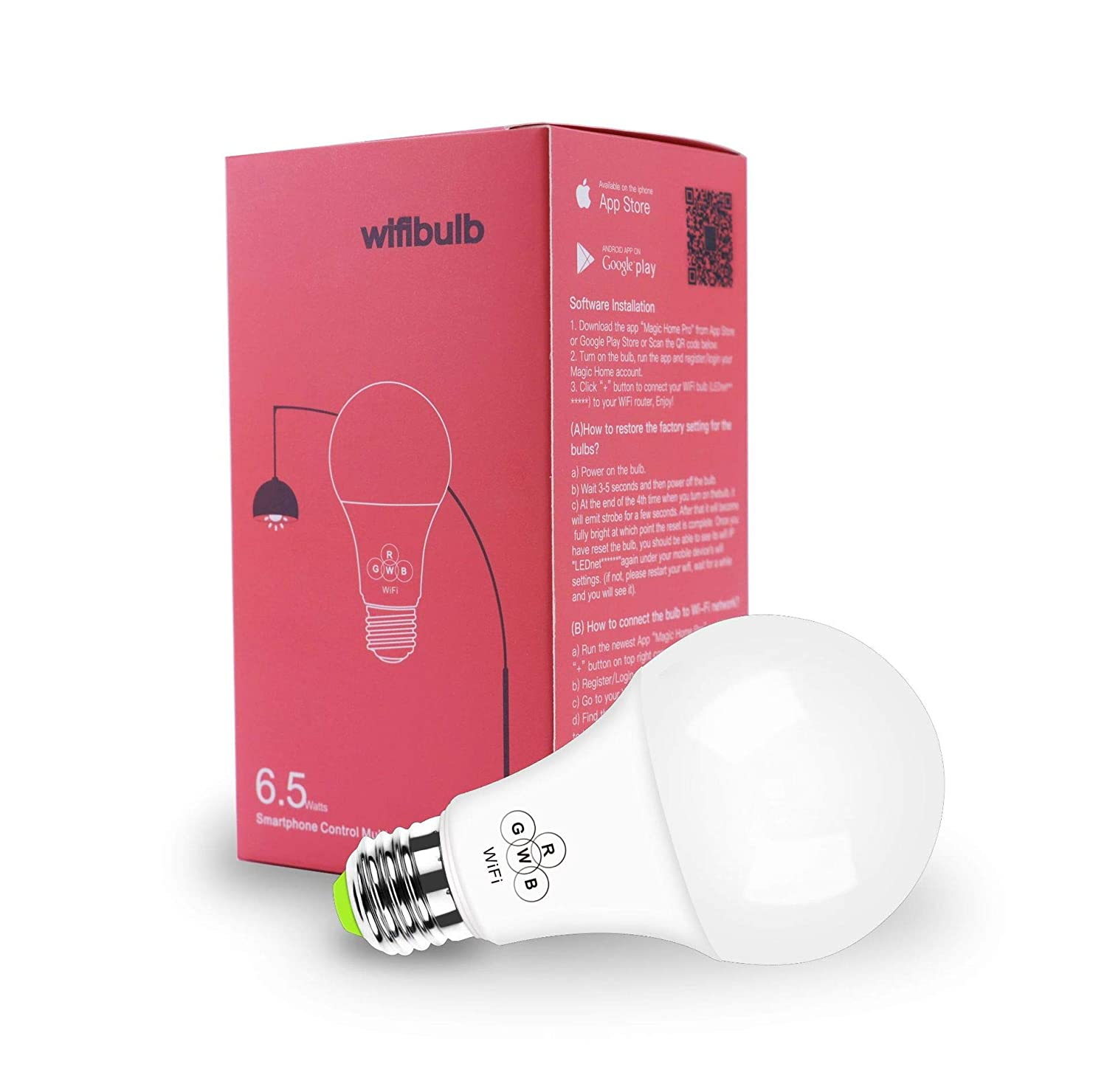 Multicolored led Light Bulb, RGBW Wi-Fi LED Bulb 6.5W 500LM Dimmable Smart Light Bulb, 6500K RGBM, Compatible with Alexa,Amazon Echo and Google Home 2pcs