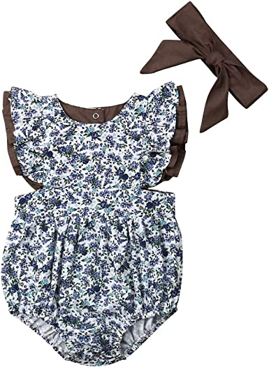 Newborn Baby Girl Floral Romper Jumpsuit Clothes Infant Bodysuit Playsuit Outfit