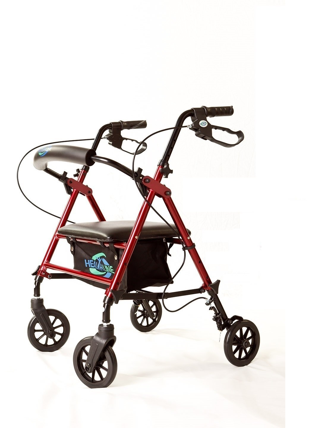 Super Light Rollator Lightweight Aluminum Folding Walker with Seat and Loop Brakes, 6'' Wheels, Height Easy Adjustable by Legs and Arms, Red