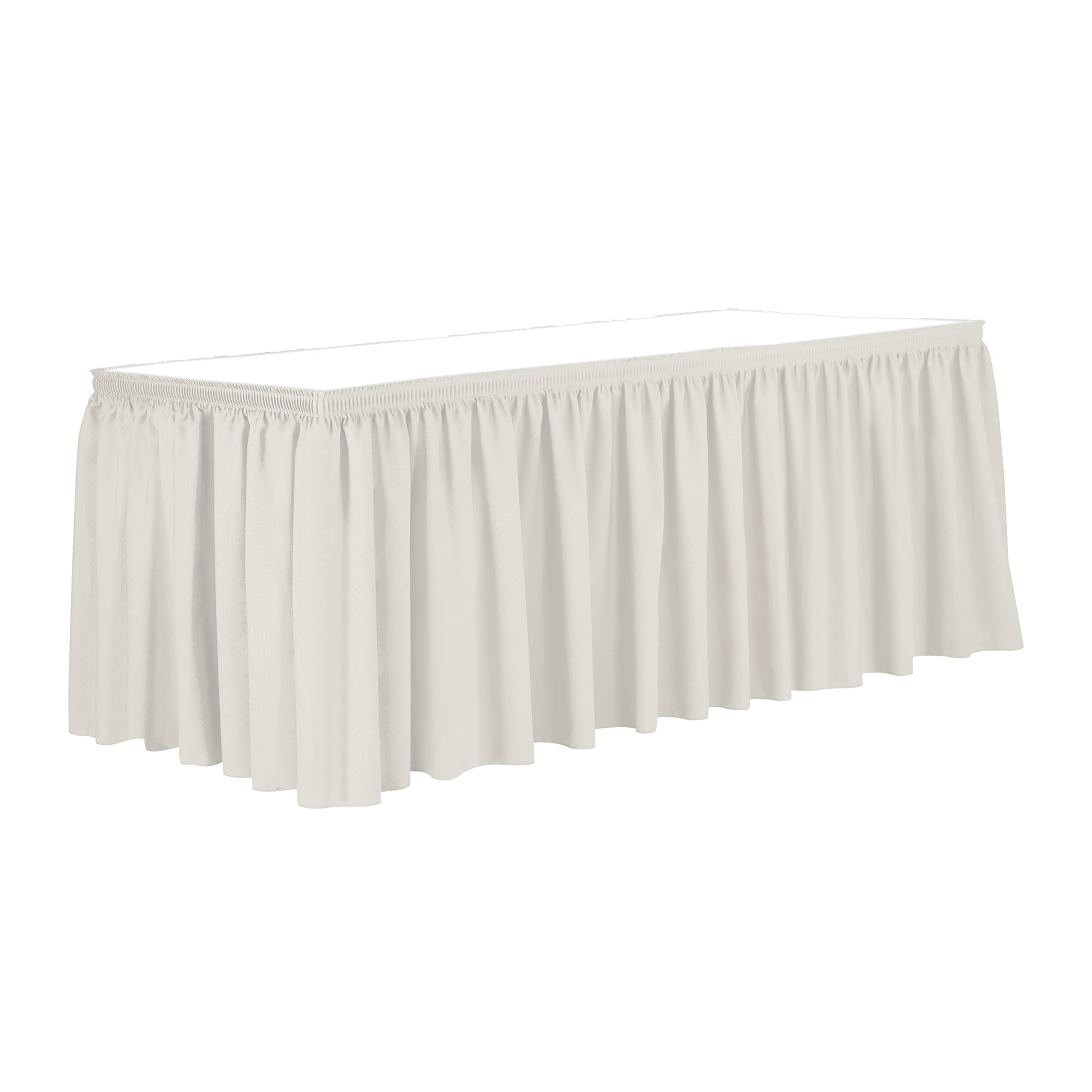 Ultimate Textile 7 ft. Shirred Pleat Polyester Table Skirt - 42'' Bar Height, Oyster