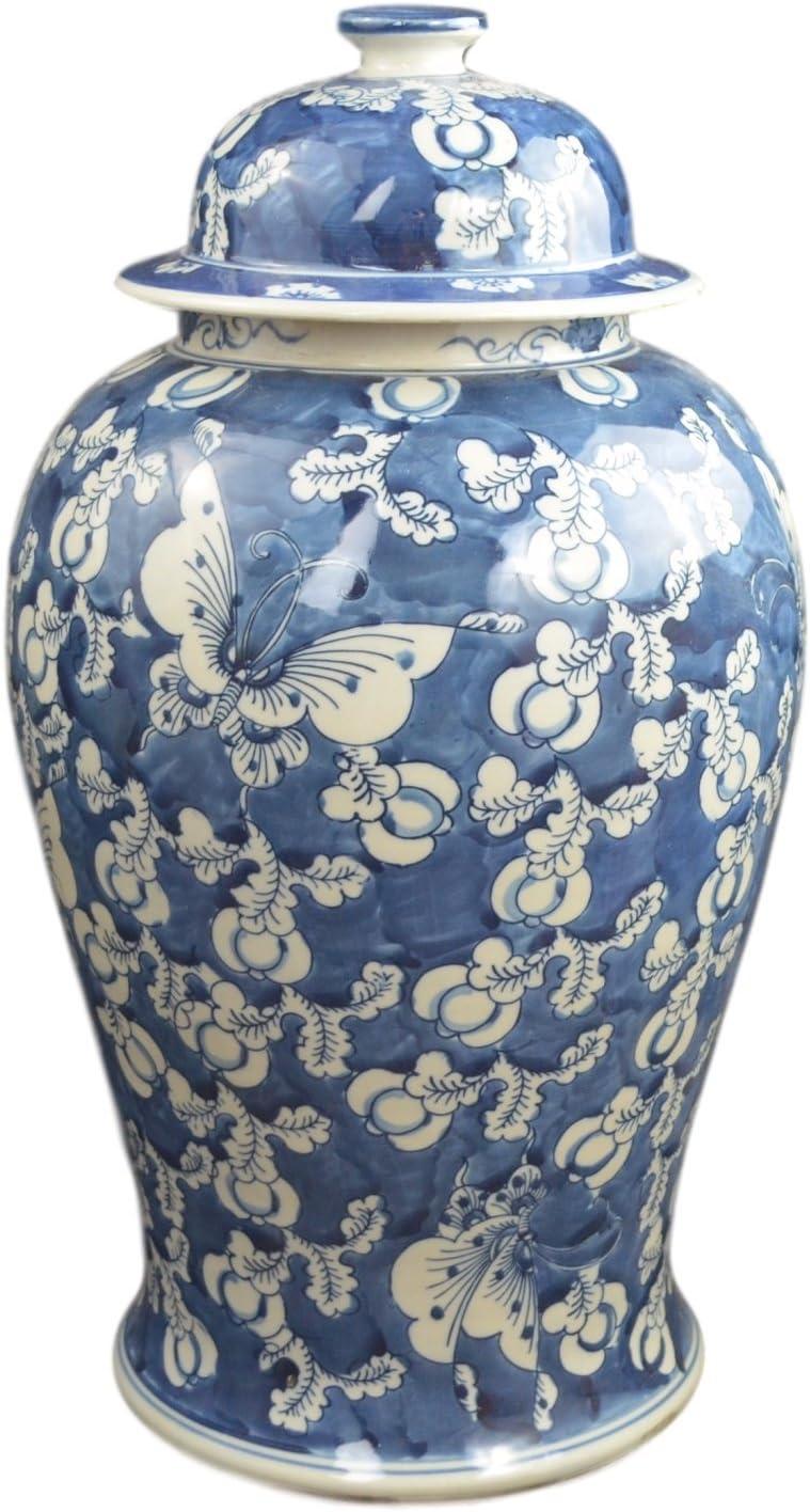"Festcool 19"" Antique Finish Blue and White Porcelain Blue Butterfly Temple Ceramic Ginger Jar Vase, China Ming Style, Jingdezhen (L1)"