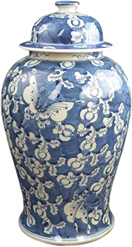 Festcool 19 Antique Like Finish Retro Blue and White Porcelain Blue Butterfly Temple Ceramic Ginger Jar Vase, China Ming Style, Jingdezhen L1