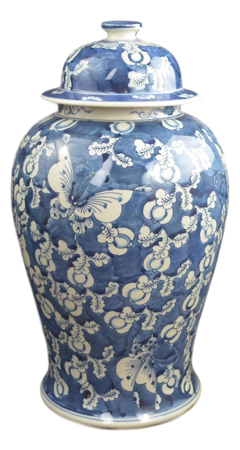 19'' Antique Finish Blue and White Porcelain Blue Butterfly Temple Ceramic Jar Vase, China Ming Style, Jingdezhen (L1)