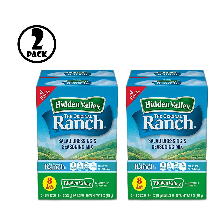 (Pack of 2) Hidden Valley Original Ranch Salad Dressing & Seasoning Mix, Gluten Free - 8 Packets by Hidden Valley