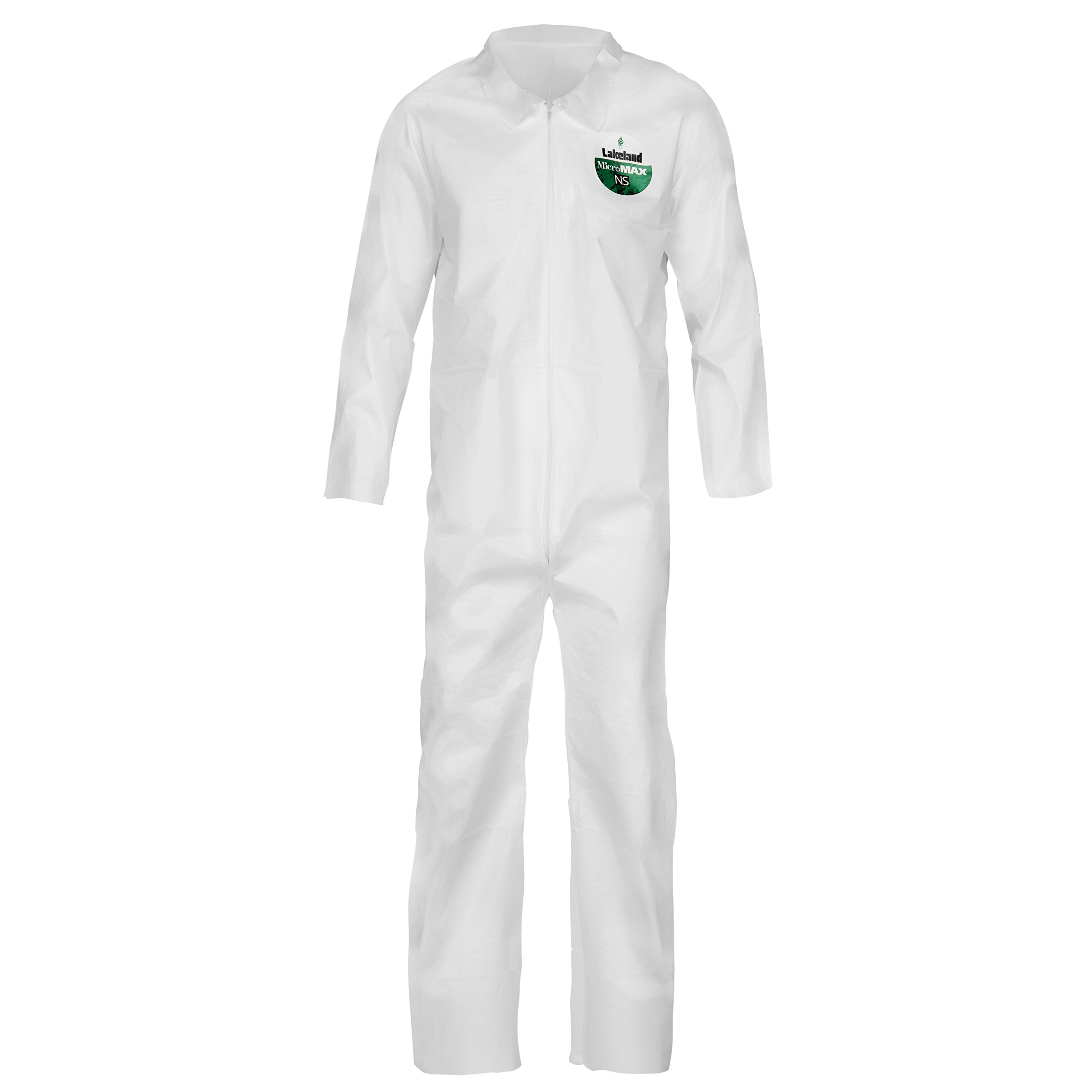 Lakeland MicroMax NS Microporous General Purpose Coverall, Elastic Cuff, Large, White (Case of 25)